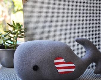 Whimsical Gray Plush Whale