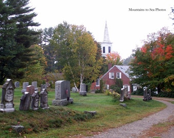 History buff gift, cemetery headstones, fall decor, 5x7 landscape photo, New Hampshire, autumn leaves, country home decor, gravestones