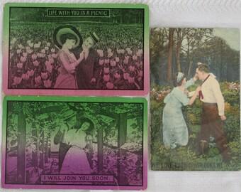 Group of Three Love Postcards