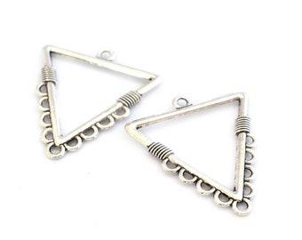 MULTISTRAND silver triangles 32 mm 2 connectors