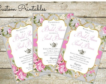 Printable Custom Invitation, Tea Party, Bridal Shower, Baby Shower,  Shabby Chic Invitation