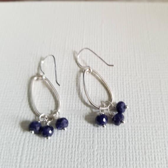 Indigo Blue Faceted Sapphire Sterling Silver Earrings, Modern Jewelry, Blue Earrings, Made in Canada