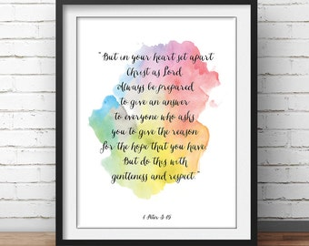 "Peter 3:15, Bible Verse Print, ""In your heart set apart christ as lord"", scripture art, christian art, Church Painting, Bible Quotes"
