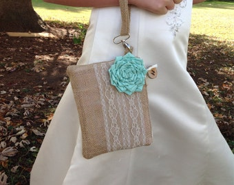Flower Girl Purse, Personalized Wedding Bag, Mint Wedding Clutch, Personalized Clutch, Burlap Bag, Rustic Wedding Purse, Flower Girl Gift