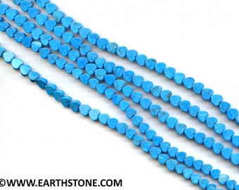 Turquoise Howlite 8mm Heart strand. 16 inch long. Sky Blue Color Loose beads on strand Semiprecious Gemstone Bead Wholesale Beads Supply