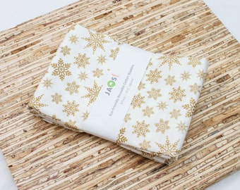 Large Cloth Napkins - Set of 4 - (N3748) - Gold Metallic Snowflakes Modern Reusable Fabric Napkins