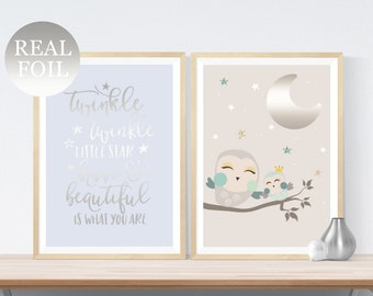 REAL FOIL 2 Cute Night Owl Prints | Foil Moon and Quote Font | Twinkle Twinkle Star | Baby Nursery Wall Art | Kid's Room Decor Picture