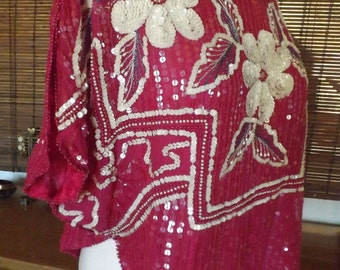 Vintage 80s Raspberry Floral Sequin Disco Blouse L