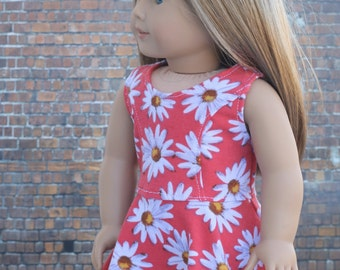 American Made Doll Clothes - Orange Daisy Floral Sleeveless Princess SKATER DRESS for 18 Inch