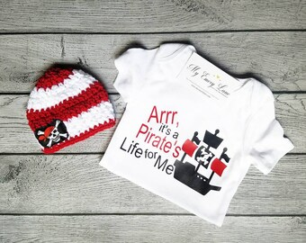 Pirate Outfit - Pirate Shirt - Pirate Hat - Pirate Set - Pirate's Life - Hat and Bodysuit - Baby Pirate - Pirate Costume - Pirate Bodysuit -
