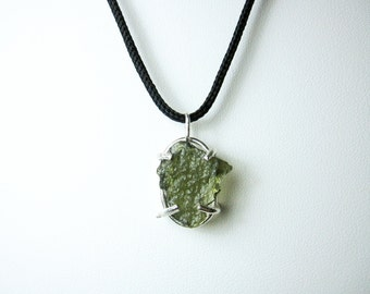 Moldavite sterling silver pendant with 20 box chain moldavite pendant moldavite jewelry moldavite stone raw moldavite handmade jewelry sterling aloadofball Gallery