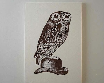 Owl on Bowler Hat silk screened canvas wall hanging 20x12 brown