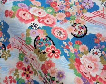 Japanese floral blue cotton fabric fat quarter, blue flowers and butterfly's  japanese fabric kawaii fabric,  tenugui fabric