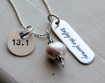 Runners Necklace, Half Marathon, Personalized Quote Running, Marathon Necklace, Running Pendant, Marathon Congratulations