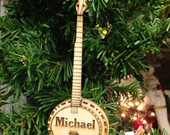 Banjo Personalized Christmas Ornament