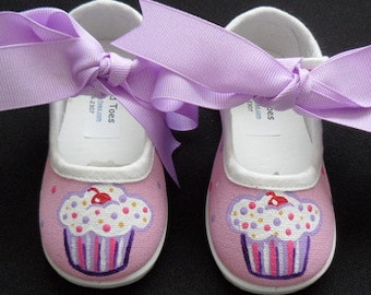 Pink & Purple Cupcake Mary Jane Hand Painted Children's Shoes