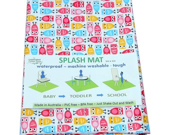 Highchair Mat / High chair Mat Splash Mat waterproof laminated cotton pink owls