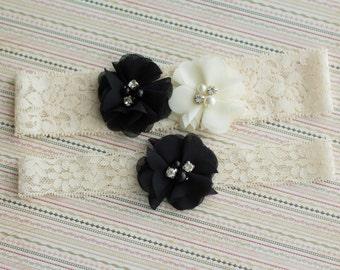 Black Wedding Garter Set, bridal Garter Set, Wedding Garter Lace, Bridal Garter Lace, lace garter, Ivory lace garter, wedding garter belt