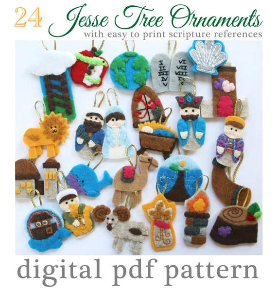 24 jesse tree advent ornaments pattern 24 ornaments with for Jesse tree ornament templates