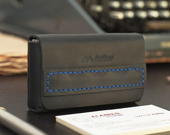 Business Card Holder Card holder Business card case Business card Card case Graduation gift Business cards personalized gift leather blue
