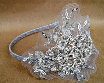 Romantic Winter Wedding Headband; Silver Rhinestone Lace Bridal Headband; Grey Jeweled Bridal Headpiece; Silver Wedding Accessory
