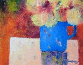 Original painting of nasturtiums, modern style acrylic still life, 'Nasturtiums in a Blue Mug'