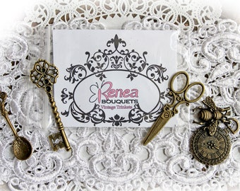 Reneabouquets Vintage Trinkets 4 Pack~Scrapbook Embellishment, Craft Supply, Jewelry Charm