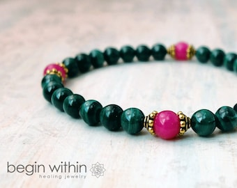 Archangel Raphael Bracelet  / Angel Bracelet / Malachite Gemstone Bracelet / Crystal Healing Jewelry / Health and Healing