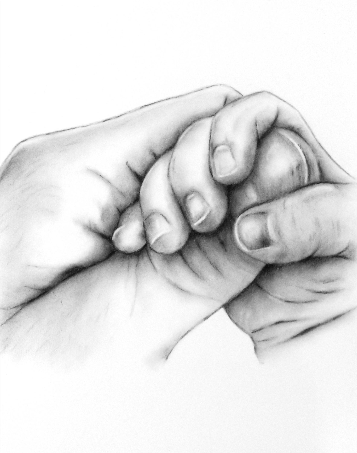 Custom Charcoal Drawing from your photo of Baby Hands not
