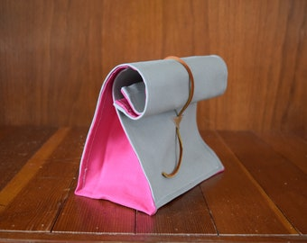 Canvas Lunch Bag / Gray / Pink / Leather Enclosure Strap / Foldover Bag / Reusable Bag