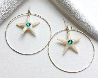 Large Beach Hoop Earrings, Real Starfish Hoops, Extra Large Gold Hoops, Boho Beach Hoop Earrings:  Ready Made