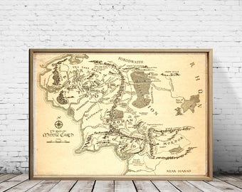 Lord Of The Rings, Valentines Day, Gift For Her, Gift For Him, Middle Earth Map, The Hobbit, Middle Earth, The Lord Of The Ring