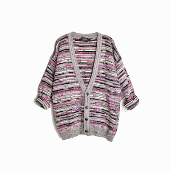 Vintage 90s Striped Knit Boyfriend Cardigan Sweater / Gray & Pink Cosby Sweater - men's xl
