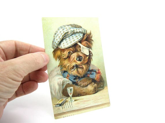 Antique Comic Dog Postcard Funny Rogue Smoking Terrier Cap Scarf Eye Patch Drink Vintage Rascal Anthro Animal Collectible Germany C. 1900s