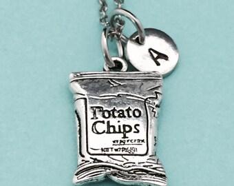 Potato chips necklace, potato chips charm, food necklace, personalized necklace, initial necklace, monogram