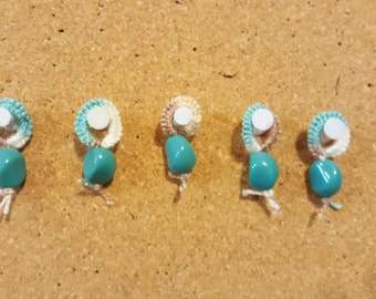 Hand Tatted Stitch Markers, set of 10, Seashore w/ Teal beads