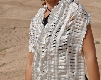 Plaid shawl, Festival clothing, Burning man costumes, Festival costumes, Burning man clothing woman, White scarf, Silver scarf, Plaid scarf