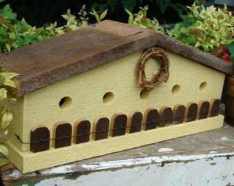 Rustic Birdhouse, Outdoor Birdhouse, Functional Birdhouse, Outdoor Garden Decor, Yellow Birdhouse
