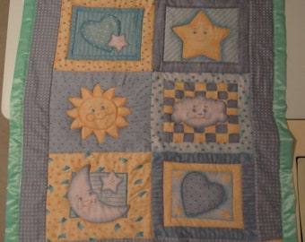 Goodnight Moon and Stars Baby Blanket Quilt