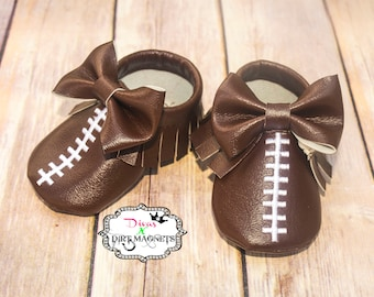 Baby Football Moccasins with Bow - Baby Shoes - Newborn Moccasins - Newborn Shoes - Custom Football Moccasins