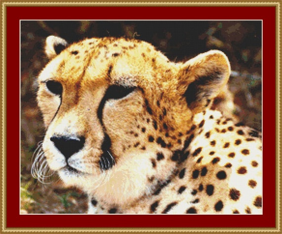 Face Of A Cheetah Cross Stitch Pattern /Digital PDF Files /Instant downloadable