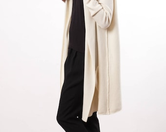Long cashmere sweater cardigan, Hooded womens cardigan sweeater, Cashmere wrap cardigan, Kaschmir Strickjacke, Off-white cardigan EDITH