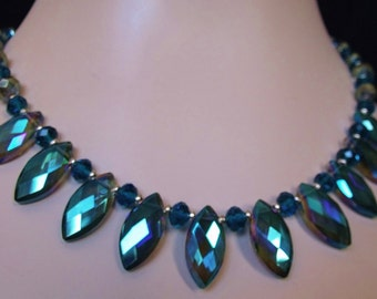 Green & Teal Colorized Crystal Statement Necklace
