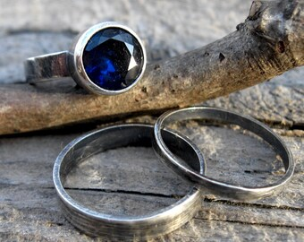 Sapphire stacking rings / sapphire sterling silver ring / silver stacking rings / silver ring / wide ring band / gift for her / jewelry sale
