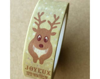"Washi tape (washi) - deer and text ""Merry Christmas"""