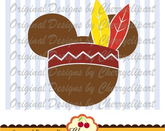 Thanksgiving Mouse ears Mickey Thanksgiving Silhouette & Cricut Cut Files DGTH32 - Personal and Commercial Use