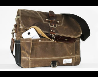 Waxed Canvas Messenger bag - handmade - FIELD TAN + BLACK + leather accents + military inspired 010042.2