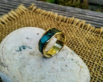 Marbled Bronze Ring Band. 8-9mm Wide.