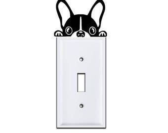 Puppy Light Switch Cover Decal | Dog Light Switch Cover Decal | Boston Terrier Decal | Funny Dog Decal | Lightswitch Decal | Puppy Decal