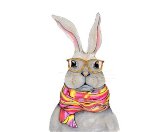 Hipster bunny watercolor, bunny wearing glasses painting, serious bunny rabbit art, color block scarf, street style bunny, hipster glasses